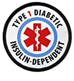 TYPE 1 DIABETIC Insulin Dependent Medical Alert 2.5 inch Black Rim Sew-on Patch