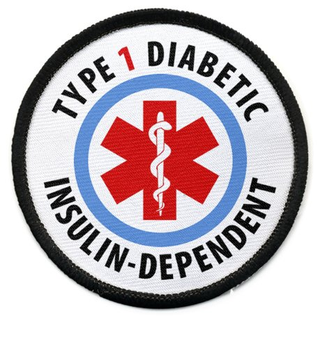 TYPE 1 DIABETIC Insulin Dependent Medical Alert 2.5 inch Bla