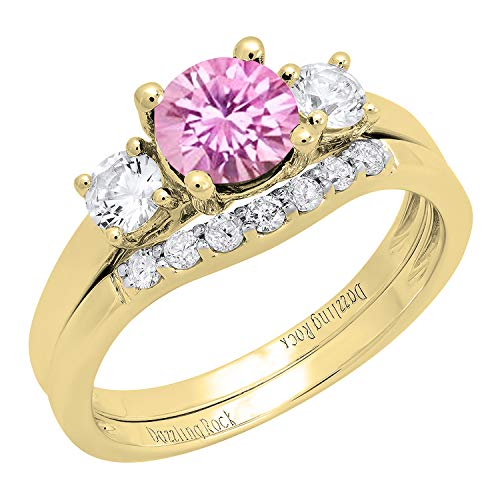 Dazzlingrock Collection 10K 6 MM Lab Created Pink Sapphire, White Sapphire & Diamond Ladies Ring Set, Yellow Gold, Size 7.5