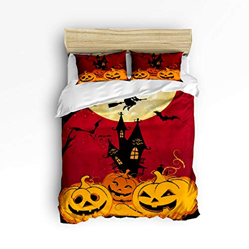 YEHO Art Gallery , Funny Pumpkins Smile Face Pattern Happy Halloween Cute 3 Piece Duvet Cover Sets for Boys Girls, Cute Decorative Bedding Set Include 1 Comforter Cover with 2 Pillow Cases King Size -