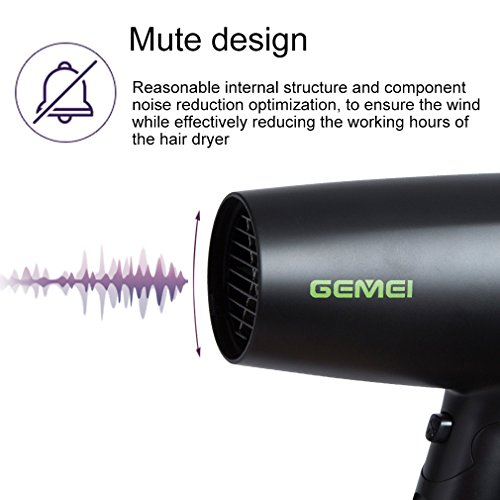 Professional Folding Blow Dryer for Travel 1300 to 1500W Negative Ion Small Hair Dryer Dual Voltage Lightweight,Mini 9x10 Inch Size, Gifts for Women,Green by Mannice (Image #2)