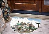 3D Semicircle Floor Stickers Personalized Floor Wall Sticker Decals - Nevada Street Sketch Buildings Statue of Liberty - Kitchen Bathroom Tile Sticker Living Room Bedroom Kids Room Decor Art Mural D47.2