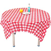 Red Checkered Tablecloth,10 Pack Plastic Table Cover Checkerboard Design Tablecloth Disposable Table Cover by Loves Town
