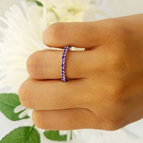 1.00 Carat (ctw) 14K Gold Round Amethyst Ladies Eternity Wedding Anniversary Stackable Band 1 CT