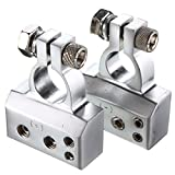 2Pcs +/- 2 4 8 AWG Gauge Plated Silver CAR HD Battery Terminal Positive Neg SET