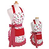 Flirty Aprons Bundle - 2 Items - Women's Strawberry Shortcake Apron & Girl's Strawberry Shortcake Apron