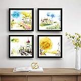 SAF Designer Set of 4 UV Textured Painting (19 x 19 Inches, SAF_SET4_2)