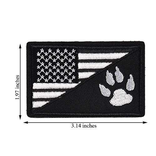 2Pcs Tactical US Flag with Tracker Paw Patriot Patches, Milltary Embroidered Applique Morale Hook & Loop Patch