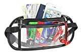 Clear Waist Bag Transparent Security Approved Travel Money Belts Fanny Pack (Black)