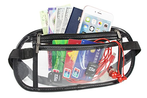 Vinyl Waist Belt - Clear Waist Bag Transparent Security Approved Travel Money Belts Fanny Pack (Black)
