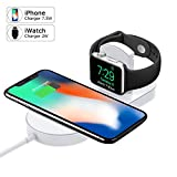 Apple Watch Charger, iPhone Wireless Charger Replacement, Ultra-Thin 2 in 1 Qi Charging Pad Stand Compatible with Apple Watch Series 1/2/3 iPhone X iPhone 8/8Plus for Samsung Galaxy Note Samsung