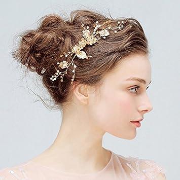 4b71c3ddc5e Amazon.com : Aukmla Wedding Hair Accessories Gold Floral Headpiece Bridal  Hair Comb Jewelry Decorative : Beauty
