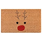 "Calloway Mills 105011729 Rudolph Doormat, 17"" x 29"", Red/Black"