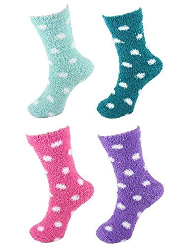 Dot Socks Fuzzy (Super Soft Warm Microfiber Fuzzy Polka Dots Socks - Assortment R - 4 Pairs)