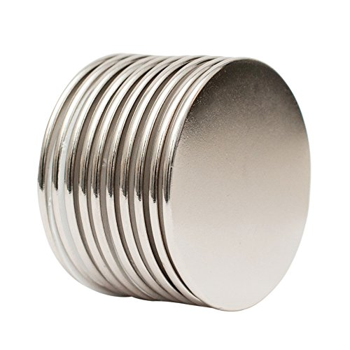 """MRW Magnetics Neodymium Disc Magnets, N52 Grade 1.5""""D x 0.06""""H, Pack of 10. Industrial Strength, Strong, Permanent Rare Earth Magnets, DIY, Fridge, Scientific, Building, Crafts, Office Magnets."""