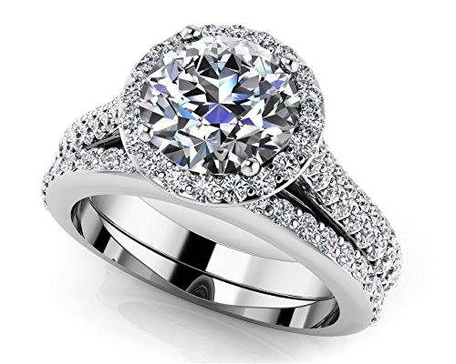 Or blanc 14K Radiant rond Halo Diamant de mariage Ensemble