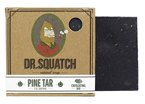 Dr. Squatch Pine Tar Soap - Mens Soap with Natural Woodsy Scent and Skin Scrub Exfoliation - Black Soap Bar Handmade with Pine Tar, Hemp, Olive Oils in USA