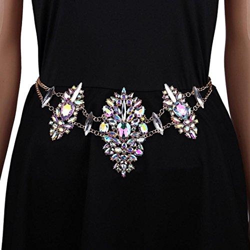Iuhan Women Crystal Rhinestone Bling Statement Body Waist Chain Belt Clubwear Retro (White) ()