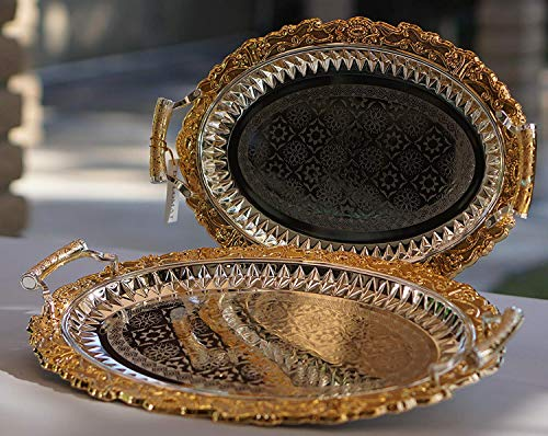 Decorative Oval Tray - Home N Kitchenware Collection (2 Piece Set) Decorative Food/Coffee Serving Tray, Charger Plate, Mediterranean Design, Centerpieces/Home Décor Accents, Many Designs (Silver/Gold Oval Design 1)
