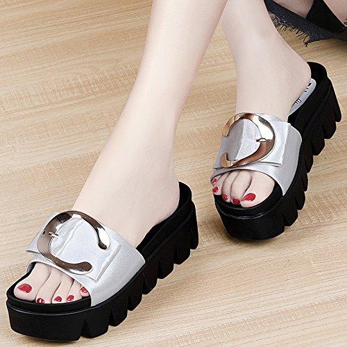 sandalias al de zapatillas La Moda sandalias mujer Waichuan La de sandalias ZHANGRONG Color de Zapatillas sandalias fondo sandalias moda mujer Plata verano grueso verano aire llevar Plata libre de TUnOvqw
