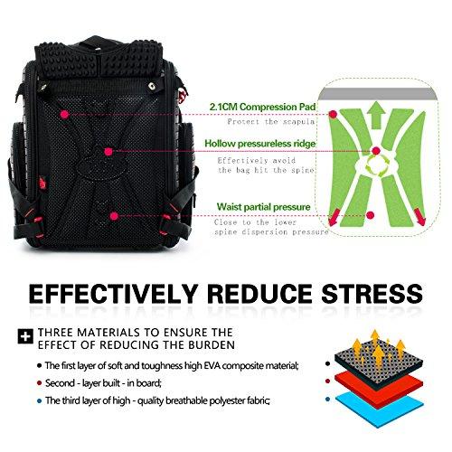 Delune Folding School Backpack for Kids Waterproof Red Truck Bookbag for Boys by Delune (Image #6)