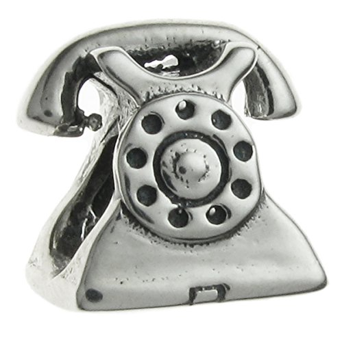Sterling Silver Telephone (Sterling Silver Antique Telephone European Style Bead Charm)