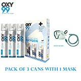 OXY99 Portable Oxygen Can With Oxygen Face Mask / Pack of 3 oxygen can & 1 oxygen face mask