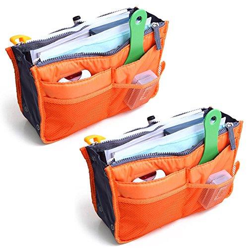 2 Pack Magik Travel Insert Handbag Purse Large Liner Organizer Tidy Bags Expandable 13 Pocket Handbag Insert Purse Organizer with Handles (Orange.)