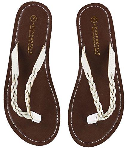 Aeropostale Womens Braided Flip Flop Sandals, White, 9 B(M) US