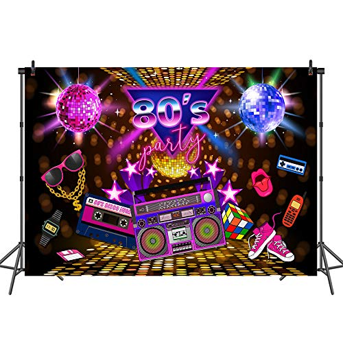 Mehofoto 80s Party Backdrop Disco Theme Retro Style Photo Backdrop 7x5 80's Birthday Background Sign 1980's Neon Eighties Photobooth Props ()