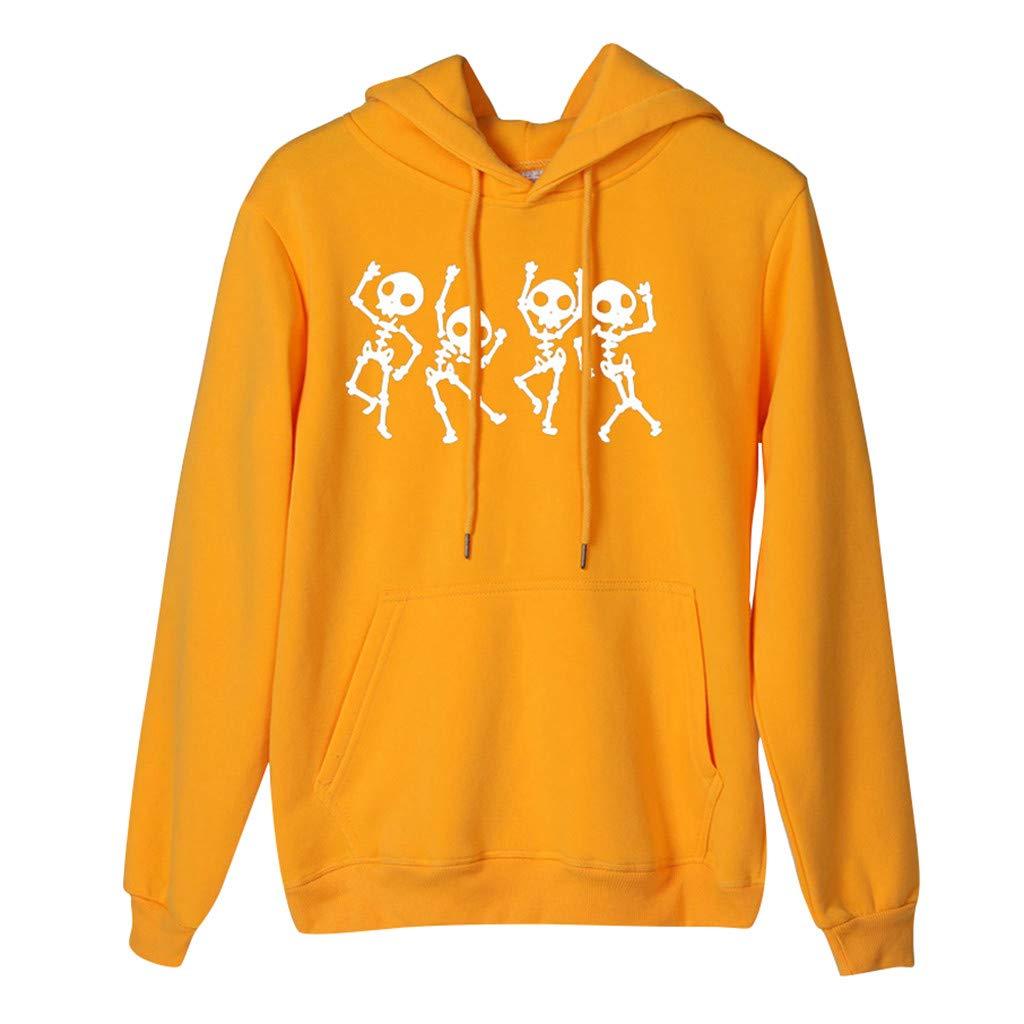 Halloween Women's Sweatshirt Print Hoodie Long Sleeve Loose Sweater T Shirt Tops Yellow by VESNIBA LLC