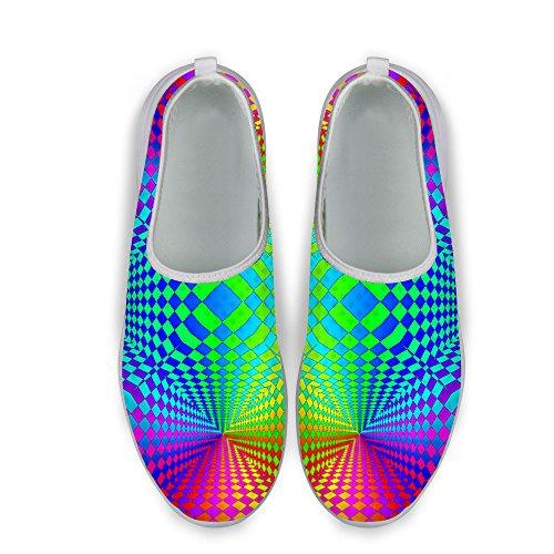 Pour U Conceptions Élégant Glitter À Carreaux Impression Confortable Slip Sur Maille Chaussures De Course À Pied Pour Les Femmes Dazzle 6