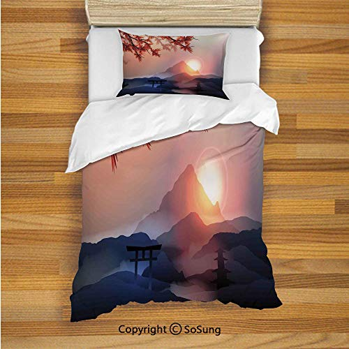 Asian Decor Kids Duvet Cover Set Twin Size, Majestic Himalayas Peaks Tops with Silhouette of Sun Life Circle Symbol Culture Artwork 2 Piece Bedding Set with 1 Pillow Sham,Blue Pink Red