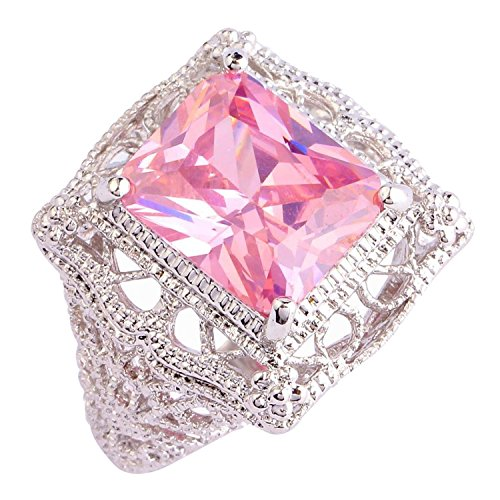 Psiroy 925 Sterling Silver Created Pink Topaz Filled Filigree Art Deco Statement Ring Size 11