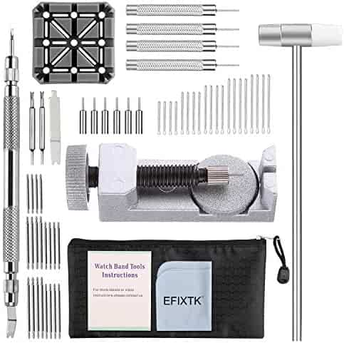 Watch Band Strap Link Pins Remover Repair Tool,24 in 1 Kit with 6 Extra Tips Replacement,20PCS Cotter Pin,1 Pack Spring Bar Tool Set,1PCS Holder,1PCS Head Hammer