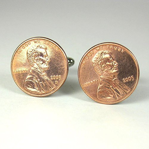 Penny Cufflinks Celebrate a Year in Your Life Lucky Penny Cuff Links - Personalized Option by HotaruJewelry