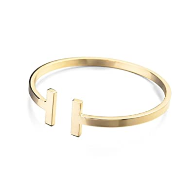 07be2b4f4 MANZHEN Gold Rose Gold Silver Double T Bangle Bracelet West Cuff Bangle ( Gold)