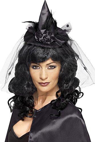 Smiffy's Women's Mini Witch Hat Mini, Black, One Size, (Black Mini Dress Costume)