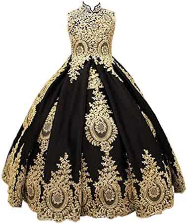 d5d12059c7b gsunmmw Gold Lace Flower Girl Dresses for Wedding Beaded Pageant Ball Gown  First Communion Dress for