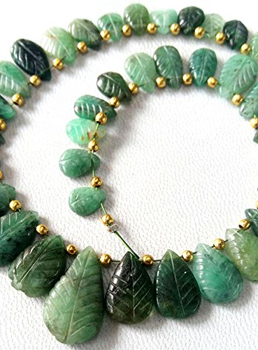 Natural EMERALD Handmade carving leaf shaped briolettes,Very nice quality,size - 6x7.5 -- 10x18 mm Approx, 8 inch (Natural Leaf Shaped Beads)
