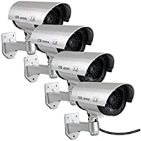 Fake Security Camera, Dummy Cameras CCTV Surveillance System Simulated Monitor with Blinking LEDs for Home Security Outdoor/Indoor - 4 PACK (Silver)