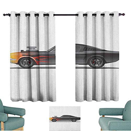 WinfreyDecor Cars Decor Curtains Custom Design Muscle Car with Supercharger and Flames Roadster Retro Styled 70%-80% Light Shading, 2 Panels,55