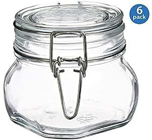 Bormioli Rocco Fido Square Clear Jar, 17.5 Ounce - Set of 6