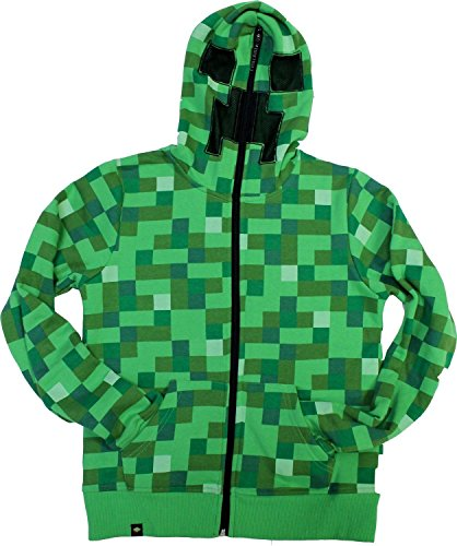 Price comparison product image Kids Minecraft Creeper Zip-up Youth Hoodie (Youth(medium), Green)