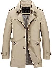 Men's Single-Breasted Cotton Lightweight Jacket Windbreaker Wind Trench Coat Outdoor Jacket