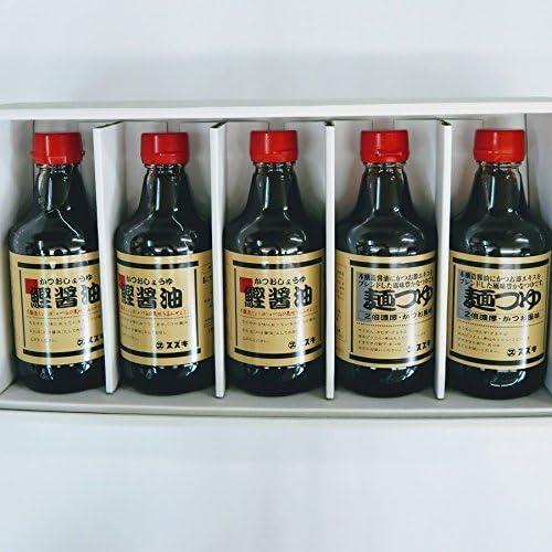 鰹醤油・麺つゆ詰合せ 鰹醤油3本麺つゆ2本