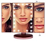 Shao Vanity Mirror for Makeup with 21 LED Lights, 3X /2X/1X Magnifying Trifold Mirror, Touch Screen Light up Control, Double Power Supply,180 ° Adjustable, Tabletop Cosmetic Lighted Mirror, Rose Gold
