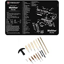 Ultimate Arms Gear WALTHER PPQ M2 Gunsmith & Armorer's Work Tool Bench Pistol Handgun Gun Mat + 17pc Cleaning Kit Brushes, Swab, Slotted Tips and Patches