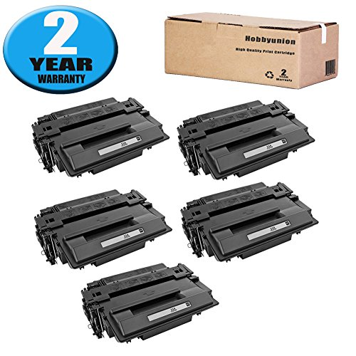 CE255X Toner Cartridge High Yield 5 Pack by Hobbyunion Compatible for 55X CE255X Toner LaserJet ( Black ) ()