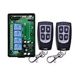 Radio Receiver+Waterproof remote control 4-Channel Frequency 433MHz 110V 220VAC Remote Control Wireless System Learning Code Connection Circuitry Radio Switch System Radio Remote Control Relay Output